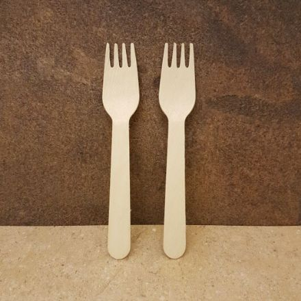 Disposable Wooden Fork x 100 Pack